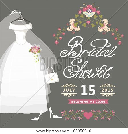Bridal Shower card.Vintage wedding invitation with floral border