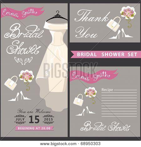 Bridal shower design  template set with wedding dress.eps