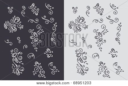 set of plumes, vector illustration