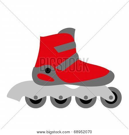 Red Inline Roller Skate Boot
