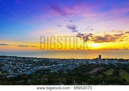 Landscape Hua Hin City At Sunrise