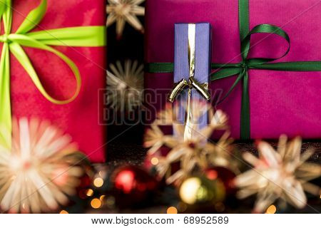 Presents, ribbons, twinkles and stars