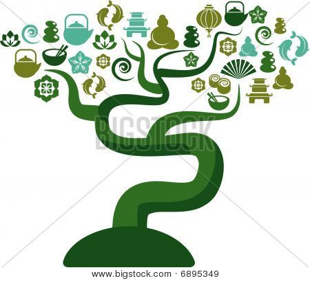 Green And Blue Tree With Zen And Icons