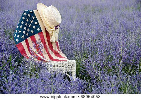 flag and hat on chair