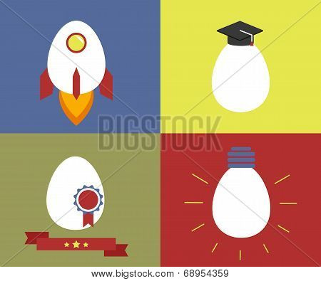 Square icons with egg as rocket, knowledge, rewarding and lamp