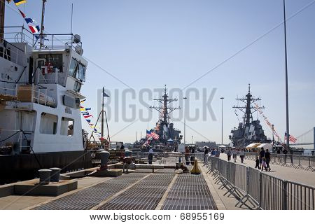 STATEN ISLAND, NY - MAY 25, 2014: A view down Sullivans Piers of the USCGC Katherine Walker (WLM 552), USS Cole (DDG 67), and USS McFaul (DDG 74) moored in Staten Island during Fleet Week NY.