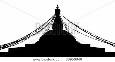 Boudhanath Stupa Silhouette