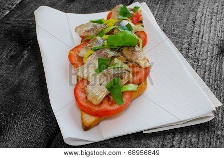 Bruschetta With Tomato, Sardines