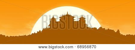 Tibetan Monastery At Sunrise