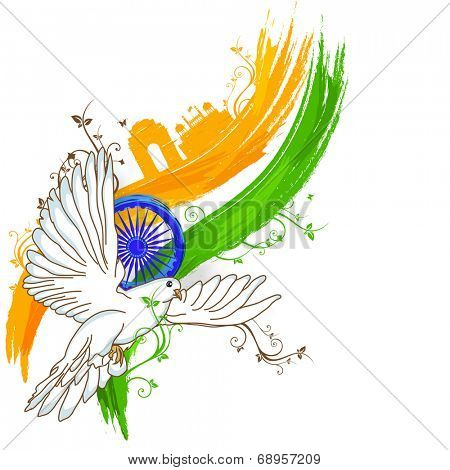 India at a glance, creative view of India with famous monuments, tricolors, asoka wheel and flying pigeon, concept for Independence Day celebrations.