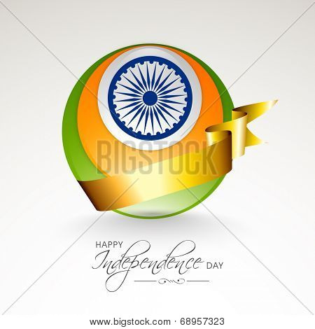 Shiny globe in national tricolors with Asoka Wheel and golden ribbon on grey background for 15th of August, Indian Independence Day celebrations.