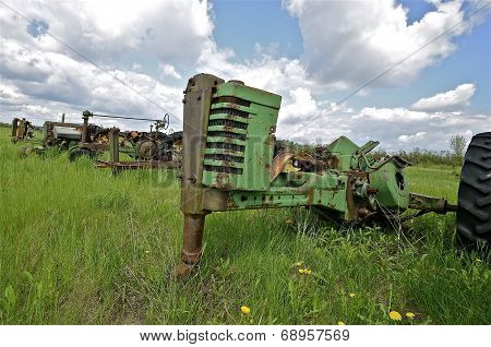 Tractor stripped of parts