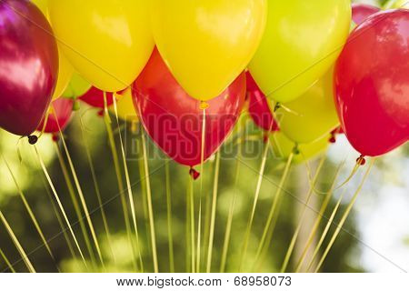 red and yellow balloons with golden strings.