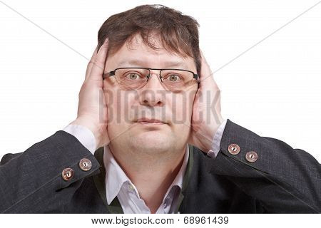 Businessman Closed His Ears - Hand Gesture