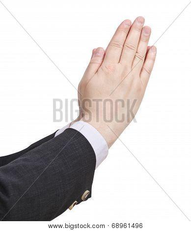 Businessman Prays - Hand Gesture