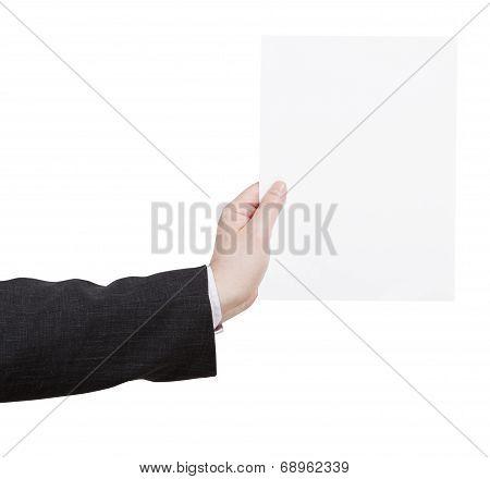 Blank Sheet Of Paper In Teacher Hand