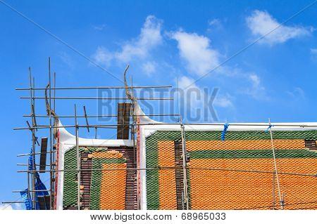 Temple roof under repair