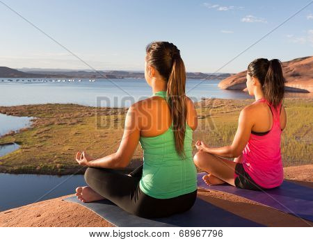 Pair Of Girls Going Yoga At Lake Powell