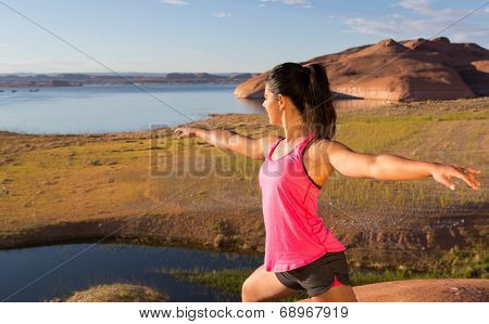 Girl And Lake Powell Workout