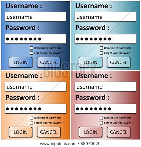 Set of login forms