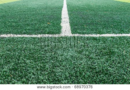 White Sideline On Football Field