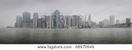 Panoramic view of Lower Manhattan on a foggy morning - NYC