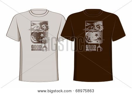 Design t-shirts with vintage printing sun, moon and stars. Good morning