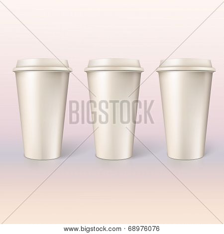 Disposable cups for coffee, closeup.