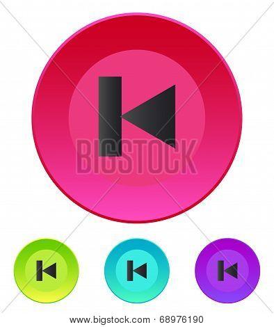 Previous track web icon. Media player.