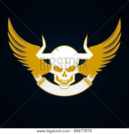 Illustration of a skull with horns, wings and emblem template