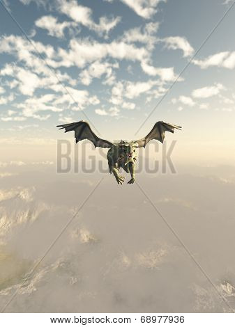Green Dragon Flying over the Mountains