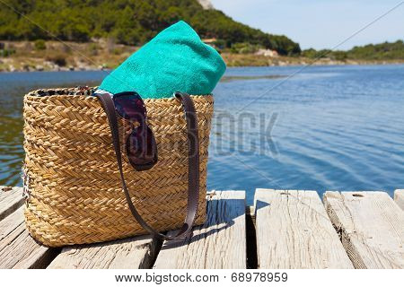 Beach Bag With Towel At The Lake