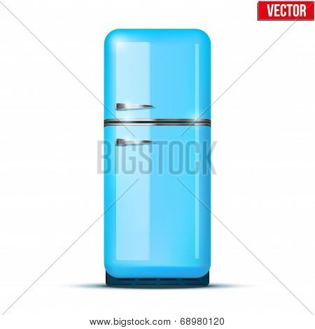 Classic Fridge Refrigerator. Vector Isolated On White Background