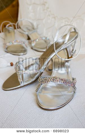 Silver Brides And Bridesmaids Shoes
