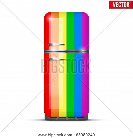 Classic Rainbow Fridge Refrigerator. Vector Isolated On White Background
