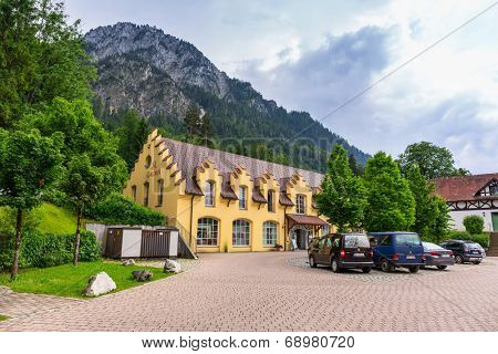HOHENSCHWANGAU, GERMANY - 19 JUNE 2014: Souvenir shop in Hohenschwangau village at Neuschwanstein Castle, Germany. Hohenschwangau is a village located between two popular castles.