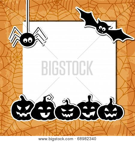 Halloween grunge background with black pumpkins, bat, spider and web