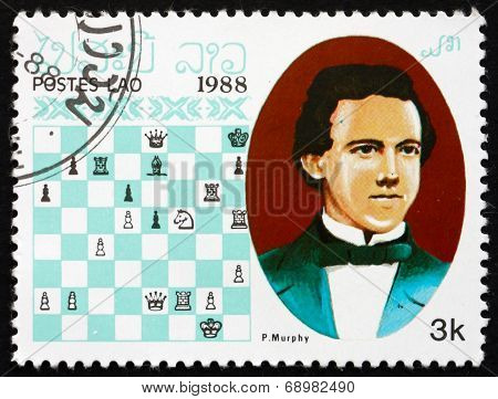 Postage Stamp Laos 1988 Paul Charles Morphy, Chess Champion