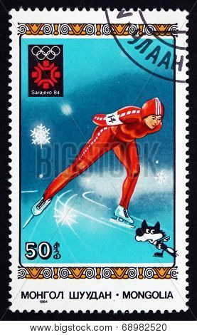 Postage Stamp Mongolia 1984 Speed Skating