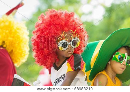 Victoria, Seychelles - April 26, 2014: Kids At The Carnival International De Victoria In Seychelles