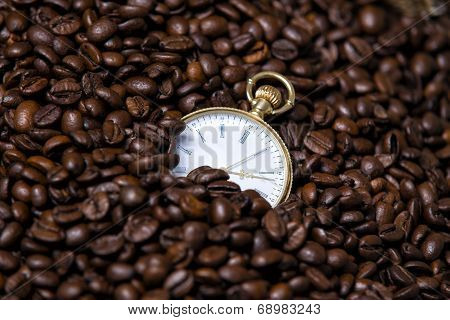 Watch in coffee beans