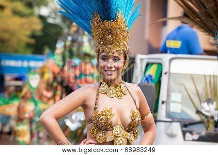 Victoria, Seychelles - April 26, 2014: Brazilian Samba Dancer At The Carnival International De Victo