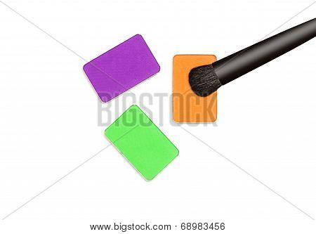 Multicolored Eyeshadow With Makeup Brush
