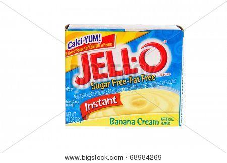 Hayward, CA - July 24, 2014: Jello brand gelatin, Banana cream flavored