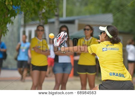 MOSCOW, RUSSIA - JULY 18, 2014: Joana Cortez of Brazil in the match against Cyprus during ITF Beach Tennis World Team Championship. Brazil won 3-0