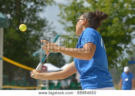 MOSCOW, RUSSIA - JULY 18, 2014: Federica Bacchetta of Italy in the match against France during ITF Beach Tennis World Team Championship. Italy won 3-0
