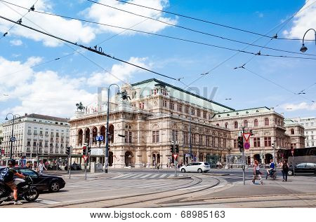 VIENNA, AUSTRIA-July 6 : state Theater Burgtheater of Vienna. Vienna state Theater on July 6, 2014.Vienna, Austria