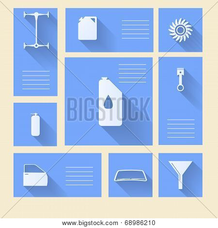 Blue vector icons for auto repair with place for text