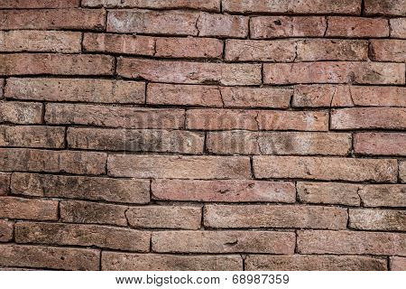 Red Old Brick Wall Texture Grunge Background