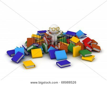 3D Character with arms up in pile of colorful books